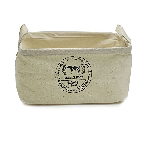 Cow Square - ASAPS Large Canvas Fabric Cube Foldable Organizer Storage Basket with Handle (Cow)
