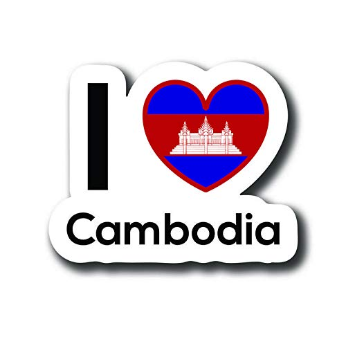 (Love Cambodia Flag Decal Sticker Home Pride Travel Car Truck Van Bumper Window Laptop Cup Wall - One 5 Inch Decal - MKS0134)