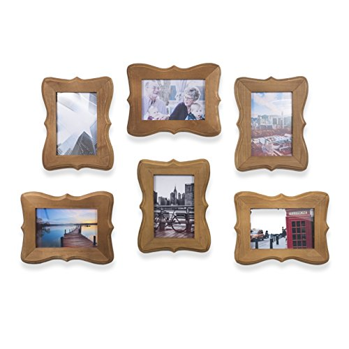 Wallniture Victorian Home or Office Decor Wood Picture Frames for 4x6 Inch Photos Walnut (6) Victorian Wood Picture Frame