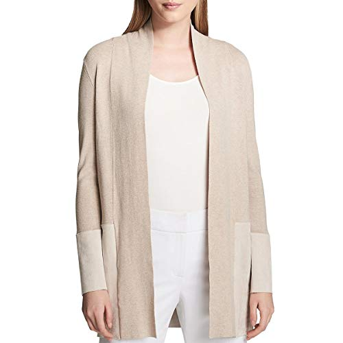 Calvin Klein Womens Faux Suede Trim Long Sleeves Cardigan Sweater Beige M