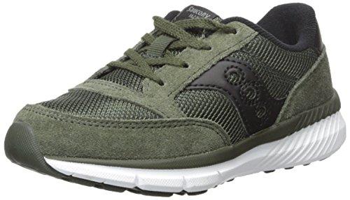 Green Boys Sneakers (Saucony Jazz Lite Lace Sneaker (Little Kid/Big Kid), Olive, 5.5 Medium US Big Kid)