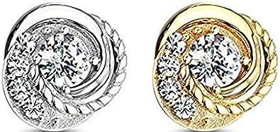 Juego de Puntas de 3 mm Piedra de ópalo 14K Anclaje dérmico de Oro sólido Top 1.6mm Joyería de perforación Corporal