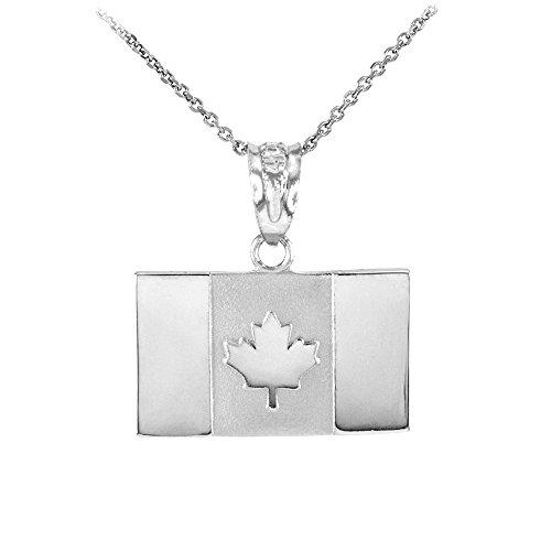 Collier Femme Pendentif Solide 10 Ct Or Blanc Canada Drapeau (Livré avec une 45cm Chaîne)