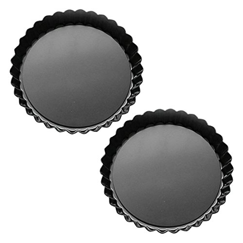 (Tosnail 2 Pack Non-Stick Quiche Pan Tart Pan with Removable Loose Bottom - 9 Inch)