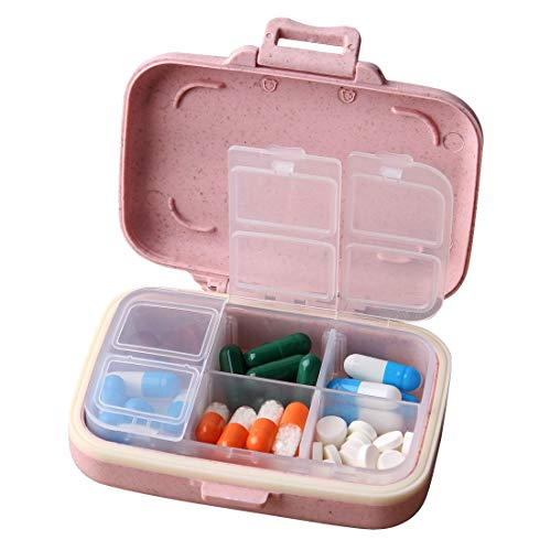 (MOST ORIGINAL DESIGNM Small Weekly Pill Case Cute Travel Vitamin Deep Oil Organizer Box for Women Safe Plastic Material 6 Compartment 3 Open Tab Pink (Pink))