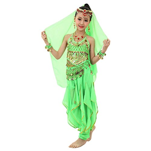 [Misaky Girls Oriental Belly Dance Costumes Child Egypt Dance Outfits Set (M(126-139CM), Green)] (Cute Kids Dance Costumes)