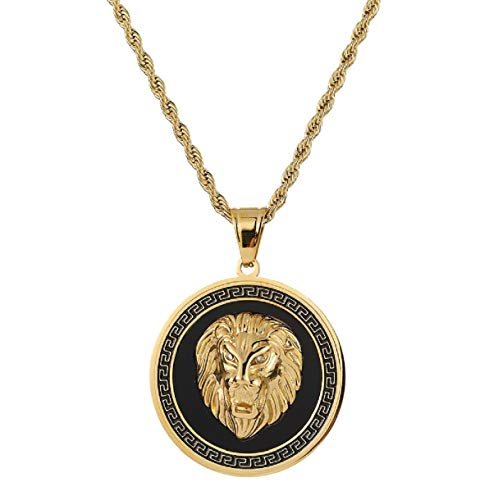 Bruce Brother Gold Plated Stainless Steel Hip HOP Lion Head Back Round Pendant for Men,75cm Chain