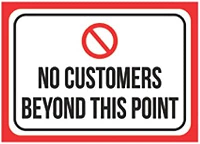 CR Pix Sticker Sign for Business Wall Window Any Smooth Surface Sticker Graphic No Customers Beyond This Point Print Black Red White Sticker Picture Symbol Business Office Store Notice