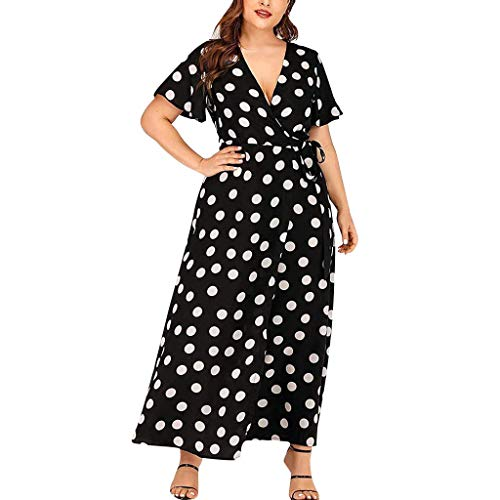 - Summer Beach Dress Women's V-Neck Casual Holiday Short Sleeve Polka Dot Side Split Elegant Midi Dresses with Pockets Black