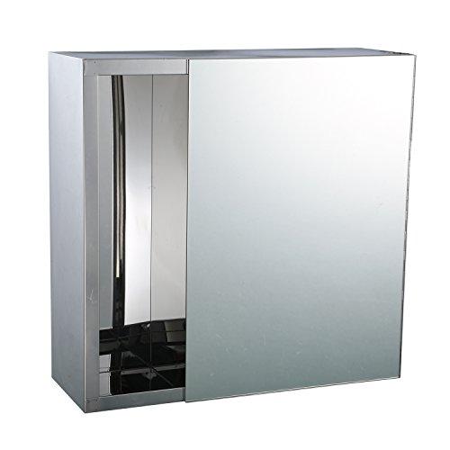 "HomCom 16"" x 16"" Stainless Steel Bathroom Mirror / Medicine Cabinet w/ Tissue Dispenser and Outer Storage (Medium Bathroom Medicine Cabinet)"