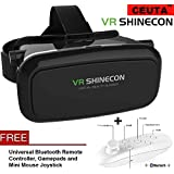Ceuta, Vr Shinecon Box with Remote Controller, Virtual Reality Headset,Premium Design 3D VR Headsets with Adjustable Cardboard [ Color - Black ].
