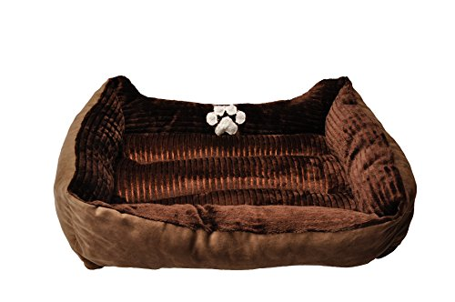 HappyCare-Textiles-Reversible-Rectangle-Pet-Bed-with-Dog-Paw-Printing-Coffee