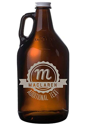 Personalized Etched 64oz Amber Beer - Growlers Beer