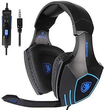 Sades SA819 Auriculares Cascos Gaming de Diadema Cerrados con Micrófono 3.5mm Jack Estéreo para Xbox One PS4 PC Mac (Negro+Azul): Amazon.es: Electrónica