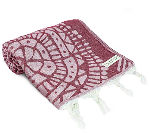 Livordo Turkish Beach Towel Soft, Absorbent 100% Cotton Made in Turkey Quick Dry Lightweight Bath Sheet, Sarong, Pareo, Wrap, Pestemal, Scarf, Spa, Yoga, Gym, Hiking, Camping (Burgundy) by Livordo