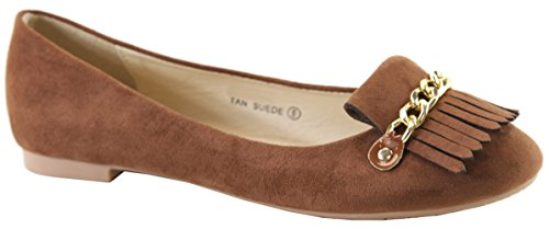 Lovmark Dames Slip-on Ketting Link Kwast Loafer Ballet Platte Tan