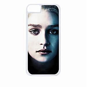 Game of Thrones-Daenerys Targaryen (Emilia Clarke) Two-Tone-Face-Up-Close- Apple iPhone 5 - 5s universal (NOT 5C) - Hard white plastic case with black soft rubber lining (double layer).