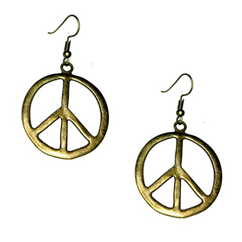 Antiqued Gold Peace Sign Drop Earrings Antique Gold Peace Sign