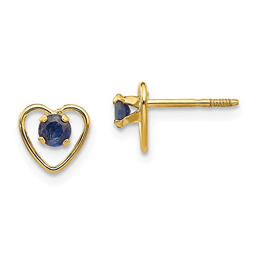 3 Mm Sapphire Heart - 14k Yellow Gold 3mm Sapphire Birthstone Heart Earrings September Love Fine Jewelry Gifts For Women For Her
