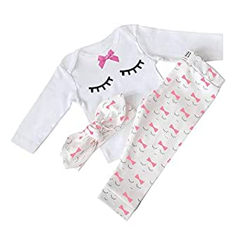 Yilaku Autumn 4 pcs Baby Girls Pants Set Newborn Infant Toddler Letter Romper Arrow Heart Pants Hats Headband Clothes 3-6 Months White