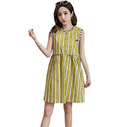 T Moda shirt Donna Allattamento BOZEVON Casual Estivo per Striscia Vestito Elegante Abito Premaman Senza Vestito Giallo Maniche Owq6vdq