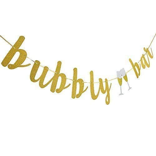 MZYARD Gold Glitter Bubbly Bar Banner(NO DIY) for Bachelorette Engagement Wedding Party Decorations