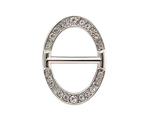 1PC Women Lady Girls Fashionable Oval Rhinestone Metal Scarves Buckle Scarf Clip Scarf Ring Wrap Holder Clamp Silk Sarf Clasp for Clothing Neckerchief T-Shirts -