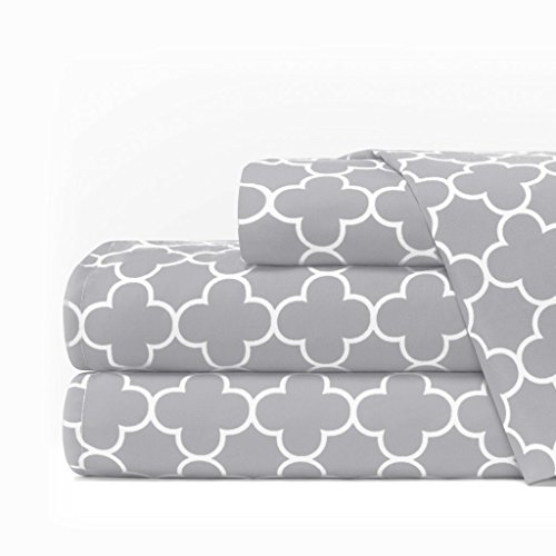 Egyptian Luxury 1600 Series Hotel Collection Clover Pattern Bed Sheet Set - Deep Pockets, Wrinkle and Fade Resistant, Hypoallergenic Sheet and Pillowcase Set - Cal King - Light Gray/White (Gray Pattern)