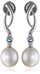 Sterling Silver White Oval Freshwater Cultured Pearl (9-10 mm) and Blue Topaz Drop Earrings
