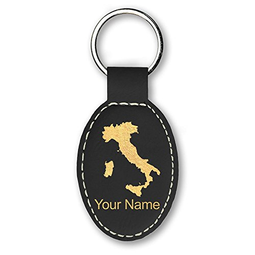 (Oval Keychain, Country Silhouette Italy, Personalized Engraving Included (Black))