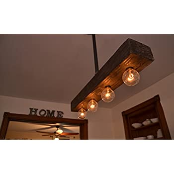 Fayette Wood Beam Chandelier - Solid Beam Downlight with 8