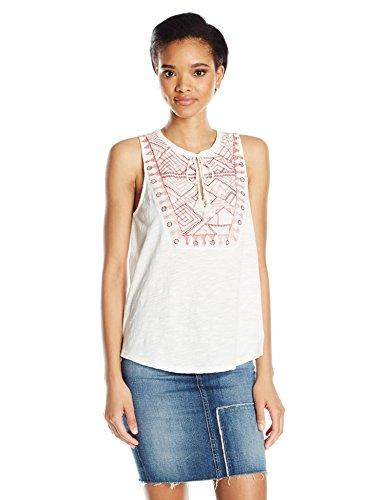 Lucky Brand Women's Embro Sequin Tank Top, Marshamllow, (Sequin Peasant Top)