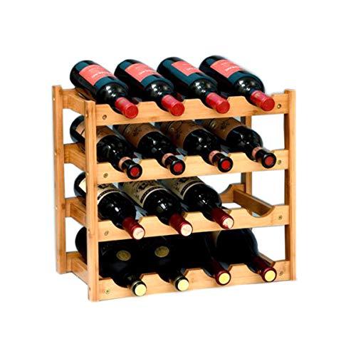 (Riipoo 16 Bottles Wine Rack, 4 Tier Nature Bamboo Wine Display Rack, Free Standing and Countertop Wine Storage Shelf (16-Bottle))