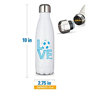 Premium White 17oz Cola Bottle Printed Stainless Waterbottle / Love Soccer Stacked White with Blue Letters