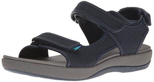 Clarks Vrouwen Brizo Sammie Platte Sandaal Marine Geperforeerde Microfiber
