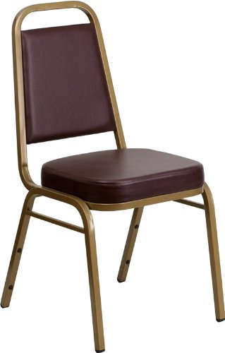 HERCULES Series Trapezoidal Back Stacking Banquet Chair with 2.5'' Thick Seat Brown/Gold Frame/Vinyl