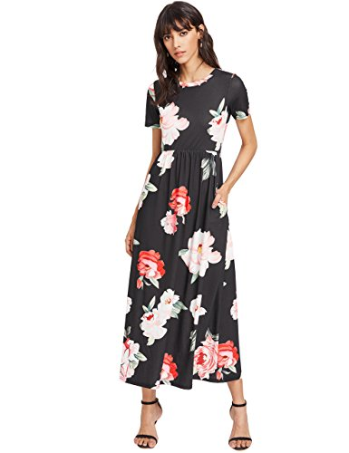 Floerns Women's Flower Print Side Pocket Short Sleeve Summer Long Dress