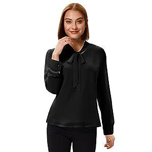 Women's Chiffon Long Sleeve Bow Tie Neck Formal OL Style Shirts M Black