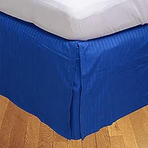 Brightlinen Royal Blue Superking (180 X 200 Cm) Box Pleated Bedskirt Stripe (drop Length: 30 Cms) 1pcs