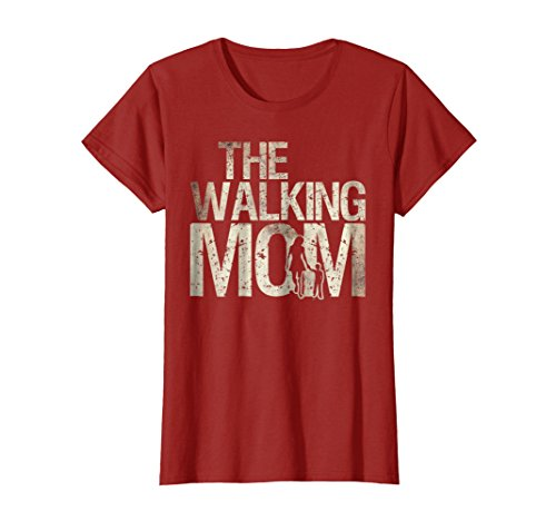 Womens Walking Mom Shirt Zombie Woman And Kid Mother's Day Tee Large Cranberry