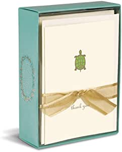 """Graphique Turtle La Petite Presse Notecards, 10 Durable Embossed and Embellished Gold Foil Thank You Green and Gold Turtle Notes with Matching Envelopes, 3.25"""" x 4.75"""""""