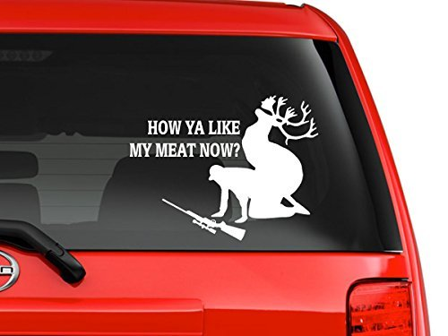 "Hunting Accident Deer Funny Quote Cartoon Silhouette Car Truck Laptop Macbook Window Decal Sticker 10"" Inches White"