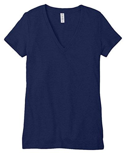Bella Ladies Tri Blend - Bella Ladies Tri Blend Deep Vee-Neck T-Shirt, Navy Heather, Medium