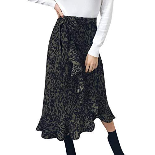 YKARITIANNA Women Daily Summer Bohemia High Waist Leopard Ruffle Beach Wrap Maxi Long Skirt