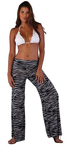 Ingear cintura alta pantalones largos de la mujer Zebra Gray