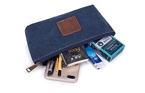 Portable Canvas Simple Toiletry bag, Stationery Pouch, Pencil Bag, Cosmetic Pouch Bag, Small Men Shaving Kit Compact Zipper Bag (Blue)