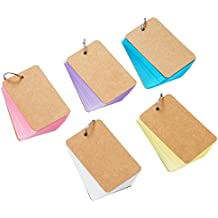 Pangda 250 Pieces Card Kraft Paper Study Cards Unruled Colored Pages with Binder Ring, 2.2 x 3.5 Inches (Multicolor)