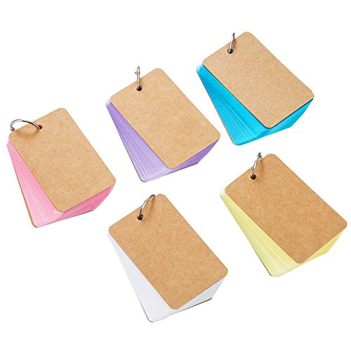 Pangda 250 Pieces Multicolor Card Kraft Paper Study Cards Unruled Colored Pages with Binder Ring, 2.2 x 3.5 Inches