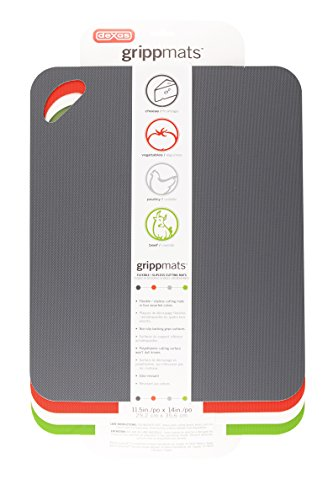 (Dexas Heavy Duty Grippmat Flexible Cutting Board Set of Four, 11.5 by 14 inches, Gray, Red, White and Green)