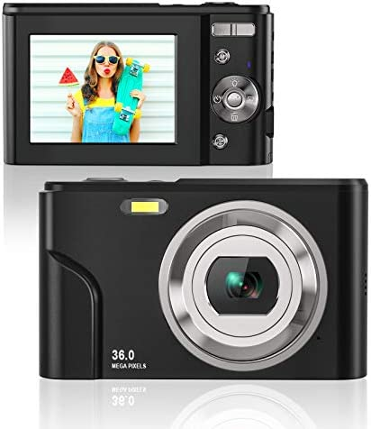 Rosdeca HD 36MP Digital Camera for Photography with 16X Zoom, Digital Video Camera with 2.4 Inch IPS LCD Display, Point and Shoot Compact Camera for Kids Teens Beginners